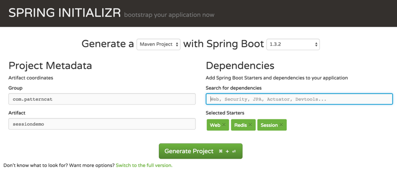 Distributed session for SpringBoot application