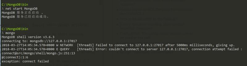 "MongoDB link failed mongo ""exception: connect failed """