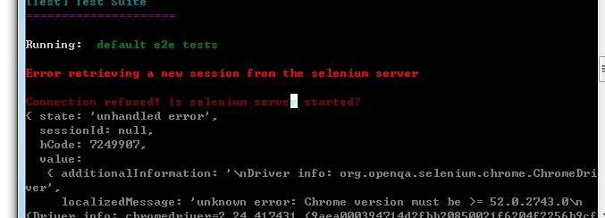 Vue-cli generation demo run npm run test error: selenium-server session error