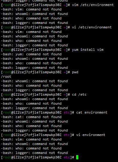 Aliyun centos server cannot execute any commands after/etc/environment is modified and restarted.