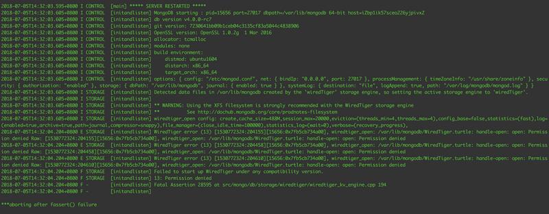 MongoDB execution service mongod start failed to start.
