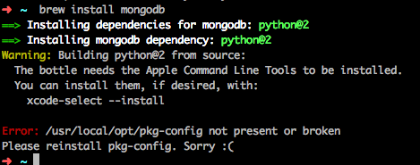 Brew install mongodb encountered an installation error on the Mac, and the directory /usr/local/opt/pkg-config could not be found.