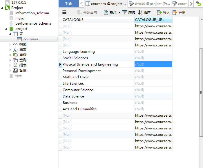 The txt file is imported into the database (using Navicat) and the corresponding field problem is shown in the figure.