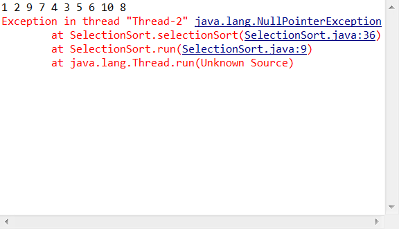 Throws a nullpointerexception when passing an array in a Java thread