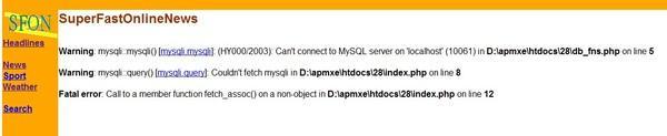 index.php执行出错界面
